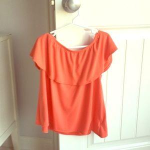 Coral off shoulder shirt